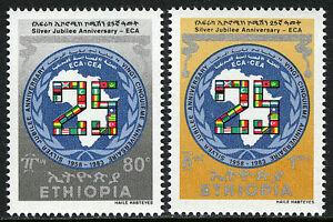 Éthiopie 1065-1066, MNH Un Economic Commission Pour Afrique, 25th Anniv. Carte ,