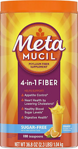 Metamucil, Psyllium Husk Powder Fiber Supplement, Plant Based, Sugar-Free 4-in-1