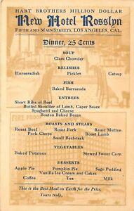c1910 Postcard; New Hotel Rosslyn Dinner Menu, Los Angeles CA Unposted