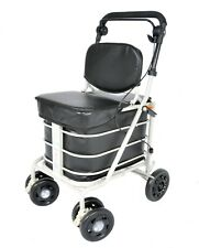 Shopping Trolley with Backrest & Seat - Black (Direct From Manufacturer)