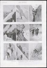 1889 antica stampa-Svizzera Alpi Grindelwald GHIACCIO scalatori neve ghiacciaio (247)