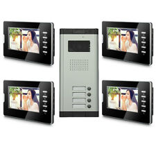4 Units Apartment Video Door Phone Doorbell Audio Visual Intercom Entry System