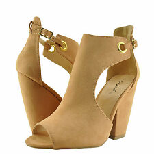 Women's Shoes Qupid Sawyer 49 Peep Toe Cut Out Chunky Heel Sandals Blush *New