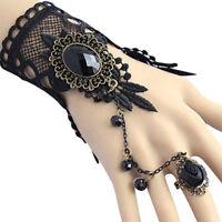 Vintage Women Black Lace Flower Hand Slave Harness Cuff Bracelet Chain Ring JA