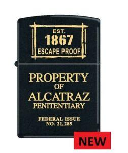 BLACK MATT  PROPERTY OF ALCATRAZ ZIPPO LIGHTER   FREE  UNITED KINGDOM. SHIPPING
