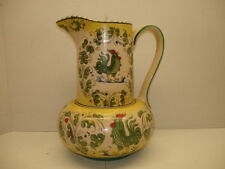 VINTAGE CERAMIC PITCHER...ROOSTER & FLORAL...ITALY