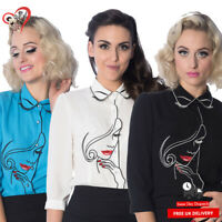 Dancing Days 50s Banned Apparel Model Face Retro Vintage Pinup Blouse Top Shirt