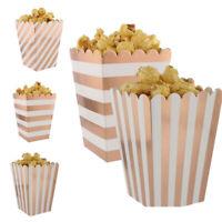 8pc/set Rose Gold Popcorn Boxes Bags Party Treat Wedding Birthday Cinema Sweet