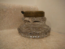 S20 ANTIQUE HEAVY CRYSTAL GLASS INKWELL HINGED BRASS TOP LID