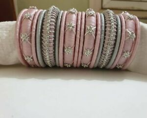 Lovely Pink color With Silver color Silk Desi Style Bangles Jewelry for Girls