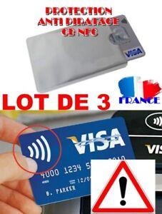 3 Etuis ANTIPIRATAGE Protection carte Bleue sans contact RFID/NFC Visa bancaire/