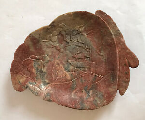Antique Chinese Soapstone Carving Of A Leaf