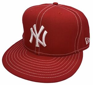 Era 59Fifty HAT MLB Team New York Yankees Mens Scarlet Red Fitted 5950 Sz 7 3/8