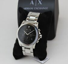 NEW AUTHENTIC ARMANI EXCHANGE DIAMOND SILVER BLACK CHRONOGRAPH MENS AX2504 WATCH