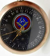Very Rare antique 24h black dial Moeris Masonic gild silver pocket watch c1900.