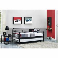 Daybed Adult With Trundle Frame Pop Up Mattress Guest Bed Twin For Adults -Black