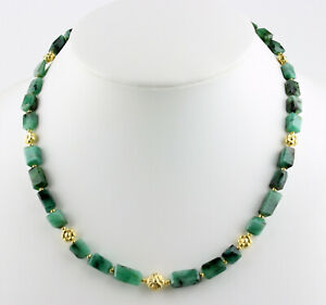 Natural Emerald Chain Faceted Nuggets Necklace With Gold Plated 925 Silver 46 CM