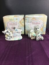 (2) 1996 Calico Kittens Cat's In The Bag #210536 & #210587 In The Boxes