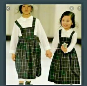 BONPOINT stunning grey checked pinafore dress age 6 BNWT