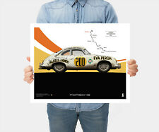 Poster Porsche 356 Pré-A panamericana 1953 ,50cm x 40cm création d'art graphiste