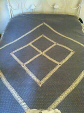 Delicate Antique French Net Lace Coverlet Circa 1900