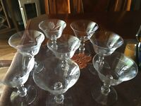 Fostoria Glass Cut Etched Rose Sherbet Cocktail Goblet Set of Eight