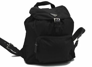 Authentic PRADA Nylon Backpack Black D8082