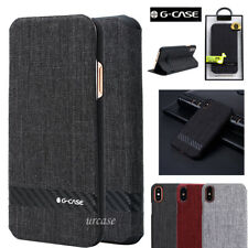 G-CASE iPhone X Case Ultra Thin Wallet Card Canvas Holder Flip Cover Fr Apple AU