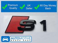 Audi S1 Gloss Black Boot Badge Emblem - Black Out Stealth Set