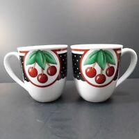 Enesco Mary Engelbreit Cherry Cameo Coffee Mugs Set of 2 EUC 3 7/8 Tall 2001