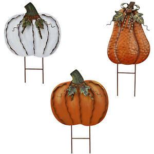 Rustic Pumpkin Decor Yard Stake Signs Yard Decorations Halloween Pumpkin Stake