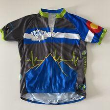 Primal Triple Bypass Full Zip Short Sleeve Cycling Jersey Men's XL Blue Gray