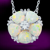 "2.00 Ct Opal & Diamond Flower Pendant Necklace 14k White Gold Finish 18"" Chain"