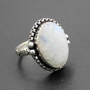 925 Silver Plated Rainbow Moonstone Statement Ring Size 8.75 US Jewelry RJ176-53