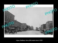 OLD LARGE HISTORIC PHOTO OF ARGOS INDIANA, VIEW OF THE MAIN STREET c1920