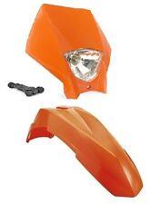 Kit Garde-boue Plaque phare Tête de fourche Supermotard Orange KTM