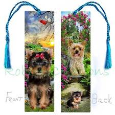 YORKIE BOOKMARK TASSEL LARGE Yorkshire Terrier Art Dog puppy Book CARD Figurine