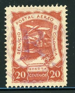 """Colombia SCADTA Selections: SANABRIA #63 20c Red Brown 12mm """"R"""" REGISTRATION $$$"""