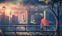 Red Umbrella - Fantasy Women In The City Wall Art Decor Canvas Picture 20x30inch