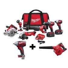 Cordless Power Tool Set Kit 8-Tool Charger 2 Batterie Bag Milwaukee M18 NEW
