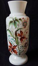 Grand Vase ancien en OPALINE décor émaillé floral peint main