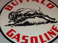 """VINTAGE BUFFALO GASOLINE BISON 11 3/4"""" PORCELAIN METAL GAS & OIL SIGN PUMP PLATE"""