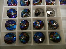 8 swarovski rivoli 2-hole sew on button,16mm meridian blue/foiled #3015