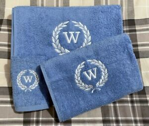 Personalised Embroidered Laurel Towel Hand Bath Sheet Monogram