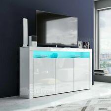 Lowboard TV Schrank Fernsehtisch Flurkommode mit Stauraum Weiß Hochglanz RGB LED