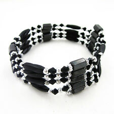 Unisex Magic Magnetic Therapy Hematite Black Bead Spacer Necklace/Bracelet