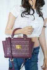 NWT Michael Kors Tina Small Top Zip Saffiano Leather Satchel Messenger Bag Plum