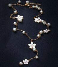 Glossy gold tone simulated pearl pendant white epoxy flowers long necklace