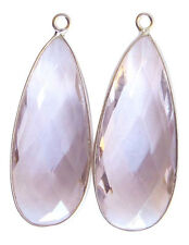 Rose Quartz and Sterling Silver Faceted Long Pear Shape Pendants 33mm Beads
