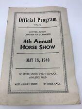 Vintage Horse Show Program 4th Annual Whittier California 1940